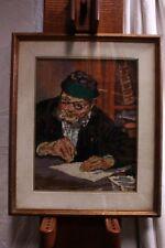 Quadro a mezzopunto raffigurante uomo con cornice e vetro 46 x 55 embroidery