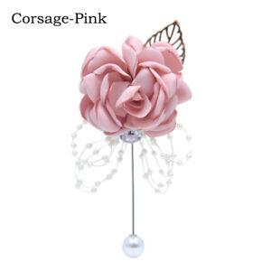 Wedding Prom Bridal Wrist Corsage Flower Girls Artificial Satin Flower Bracelet