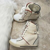 SKETCHERS Chatter Box High Top Shoes Sz 8.5M Wedge Sneaker Cream Blue Red