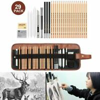 29Pcs/set Drawing Sketching Pencils Set Graphite Pencil Paper Mark Brush Pen