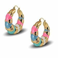 18ct Gold Plated Puffed Creole Hoop Earrings for Women Large 50mm