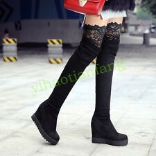 Strappy Womens Pull On Hot Over The Knee Boot Platform Wedge Heels Suede Fashion