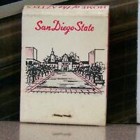 Vintage Matchbook K6 San Diego California State College Aztecs Illustration Art