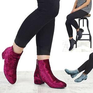 New Womens Velvet Flat Heel Chelsea Ladies Short Pixie Zip Ankle Boots Shoes