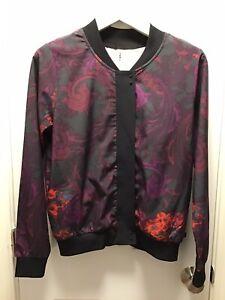 FABLETICS Size Medium Purple, Red & Black Bomber Jacket Paisley Floral Zipper