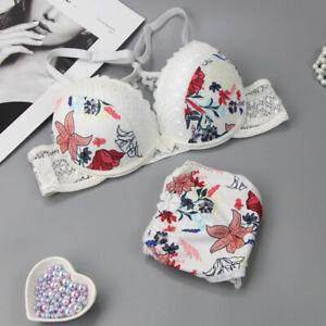 Womens Floral Luxury Push up Bra Set Knickers Panties Ladies Underwear AB-C-D-DD