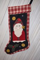 Primitive Handmade Wool Christmas Stocking Santa Clause Red Plaid Flannel 20""