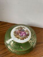 Vtg Limoges Round trinket box Fragonard courting couple green gold