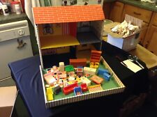 Vintage Louis Marx & Co. Inc. Cardboard Doll House with furniture No. 4650