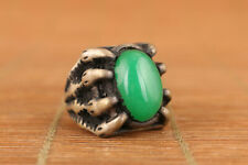 Chinese old tibet silver inlay green jade carving flower ring noble gift