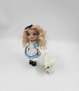 Crochet doll Alice in Wonderland, crochet white rabbit, handmade gift 7 in
