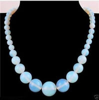 Moonstone18inches Natural 6-14mm Opalite Gemstone  Round Beads Necklace Stunning