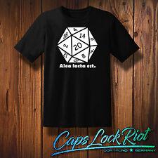 T-shirt ALEA iacta est Fun Geek Nerd cubo rollplay D & D tabeltop Pen & Paper w20