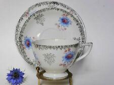 Silver Chintz & Blue Floral Tea Cup Trio, Vintage Japanese Mid Century Teacup