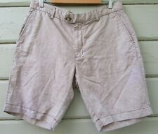 Maker and Co. Tailor Cut Taupe Khaki Tan Linen Cotton Shorts Mens 36 NEW $108