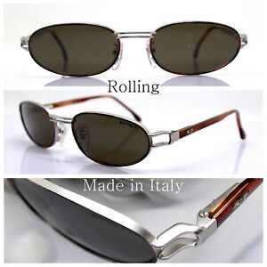 Rolling 736 Sunglasses Men Oval Silver Matt Vintage 90 Made IN Italy