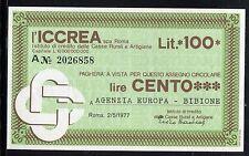 ICCREA 1977/AGENZIA EUROPA BIBIONE/MINIASSEGNI/PAPER MONEY/FDS/UNC