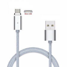 Magnetic Braided Micro USB Charger Charging Cable for Samsung LG Huawei Android Gray
