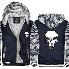 2018 Newest Punisher Hoodie Fleece zip up Coat winter Jacket warm Sweatshirt