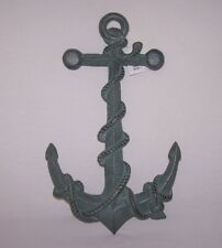 LARGE DECORATIVE WROUGHT IRON PATINA GREEN ANCHOR