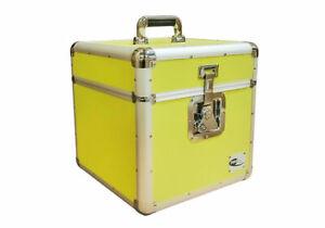 "12"" LP Vinyl Record Aluminium DJ Flight Carry Case Yellow Holds 100 High Quality"