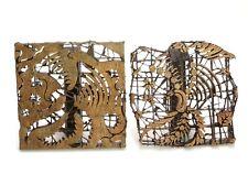 "PAIR COPPER TJAP CAP CHOP STAMP GARUDA EAGLE 7 1/2"" x 7 1/2"" BATIK INDONESIA ART"
