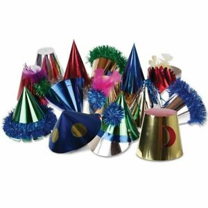 Pack of 50 Assorted Adult Party Hats With Tinsel Trim & Feathers Details