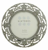 """Ornate Vintage Chic Silver & Crystal Round Photoframe 4"""" Picture Sixtrees Helena"""