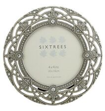 "Ornate Vintage Chic Silver & Crystal Round Photoframe 4"" Picture Sixtrees Helena"