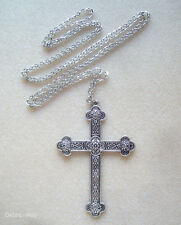 "Large Vintage Silver Gothic Cross and Chain 36"" Long Necklace in Gift Bag"