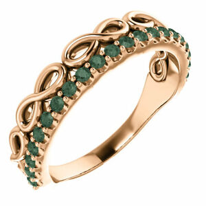 Genuine Alexandrite Infinity-Inspired Stackable Ring In 14K Rose Gold