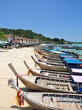 PHOTO SEASCAPE MOTOR BOAT BEACH PHUKET THAILAND TROPICAL SAND SEA PRINT BMP10166
