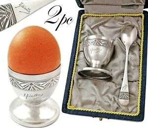 French Sterling Breakfast Set - Egg Cup and Spoon - Art Deco Guilloche engraving