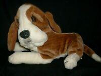 """12"""" VINTAGE KIKY BROWN & WHITE LAYING PUP PUPPY DOG STUFFED ANIMAL PLUSH TOY"""