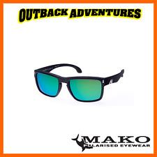MAKO SUNGLASSES GT MATT BLACK FRAME ROSE GREEN MIRROR GLASS LENS M01-G2H5