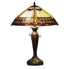 "Tiffany Style Stained Cut Glass Beige Amberjack Table Lamp 2 light 16"" Shade"