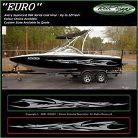 "BOAT GRAPHICS DECAL STICKER KIT ""EURO -1800""  MARINE CAST VINYL"