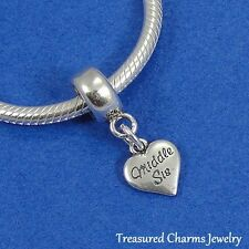 """.925 Sterling Silver MIDDLE SISTER HEART """"MIDDLE SIS"""" EUROPEAN Dangle Bead CHARM"""