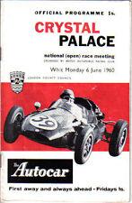 Crystal PALACE NATIONAL aperto AUTO CORSA ORIGINALE programma ufficiale 6A giugno 1960