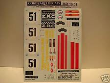 DECALS 1/16 ALPINE 1300/1600 version CIVILE + #51 LE MANS 1968 - COLORADO  1601