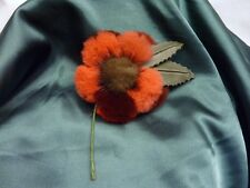 Genuine REAL RED SHEARED FUR ROSE FLOWER PIN