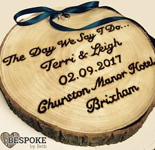 Personalised LARGE Wooden Log Slice Wedding Rings Holder Rustic Natural Marriage