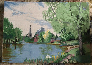 Vtg Completed Hand Embroidered Tapestry Park With Trees, River & Church