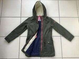 Girls JOULES Green Waxed Cotton Hooded Coat Age 9-10 years School / Winter
