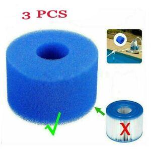 3PCS for Intex Pure Spa Reusable/Washable Foam Hot Tub Filter Cartridge S1 TA1X6