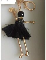 Black Key Tassel Leather Bag Women Chain Keychain Pendant Ring Car Charm Handbag