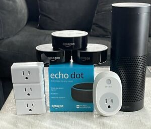 Lot Of 5 Amazon Echo's And 4 TP Link Smart Plugs