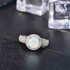Fashion 925 Silver Round Fire Opal Rainbow Gemstone Wedding Engagement Ring 6-11