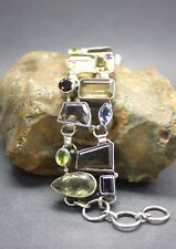 UNIQUE MIX of GEMSTONES in a BRACELET set in 925 STERLING SILVER FREE SHIPPING !