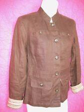 CAROLE LITTLE Brown Blazer Linen Jacket Mandarin Collar Sz 8 Smart Striped Trim